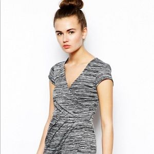 French connection Marled gray Dress midi 6 wrap